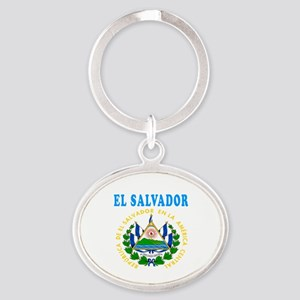 El Salvador Coat Of Arms Designs Oval Keychain